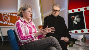 Taru Mäkelä ja Lasse Saarinen Aamu-tv:n haastattelussa 20. maaliskuuta 2018.