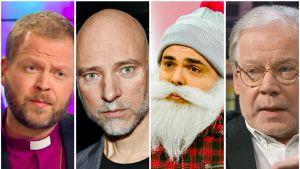 """Kuvakombo, jossa vasemmalta oikealle piispa Teemu Laajasalo, ohjaaja Aku Louhimies, hyväntekijä Ari """"Brother Christmas"""" Koponen ja ohjaaja Lauri Törhönen."""