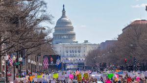 Ihmisiä osoittamassa mieltään Washingtonissa lauantaina 24. maaliskuuta.
