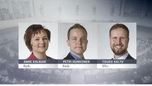 Kansanedustajat Anne Kalmari (Kesk.), Petri Honkonen (Kesk.) ja Touko Aalto (Vihr.)
