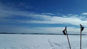 Suksisauvat järven jäällä