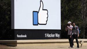 Kaksi nuorta miestä kävelee Facebookin tutun peukutuskuvataulun ohi.