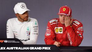 Lewis Hamilton ja Kimi Räikkönen kauden avauskilpailun jälkeisessä lehdistötilaisuudessa.