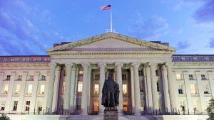 Yhdysvaltain valtiovarainministeriön rakennus.