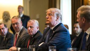 Yhdysvaltojen presidentti Donald Trump puhui medialle Valkoisessa talossa.