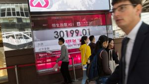 Hongkongin pörssin näyttötaulu.