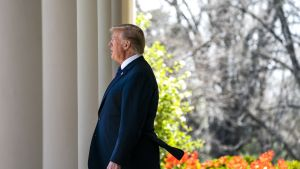 Yhdysvaltain presidentti Donald Trump Valkoisessa talossa 12. huhtikuuta.