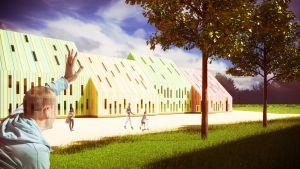 Havainnekuva modulaarisesta koulusta.