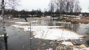 Tulvaa Pyhäjoella 20.4.2018.
