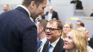 Keskustan puheenjohtaja Juha Sipilä keskustan puoluevaltuuston vuosikokouksessa Lahdessa lauantaina 21. huhtikuuta