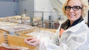 Toimitusjohtaja Helena Korte esittelee tehtaan raaka-aineita