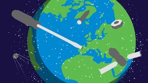 Avaruusromua leijailee maapallon ympärillä