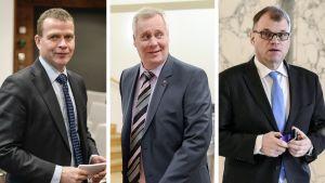 Petteri Orpo, Antti Rinne ja Juha Sipilä