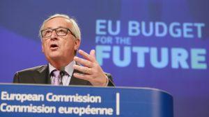 EU-komission puheenjohtaja Jean-Claude Juncker piti tiedotustilaisuutta EU:n budjettiesityksen tiimoilta Brysselissä 2. toukokuuta 2018.