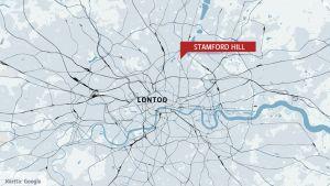 lontoon kartta jossa stamford hill