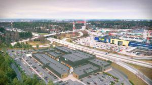 Havainnekuva Helsingin ja Vantaan rajalle nousevasta Helsinki Outlet -liikekeskittymästä.