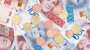 Ruotsalaisia seteleitä ja kolikoita