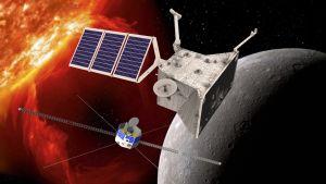 Piirroskuva Bepi- ja MMO-luotaimista, jotka ovat irronneet toisistaan Merkuriuksen lähellä. Takana palaa aurinko.