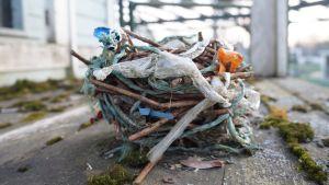 Linnunpesässä on paljon muovia.