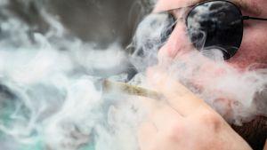 Mies polttaa marihuanasätkää