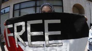 """Lippuun on kirjoitettu """"vapaa palestiina""""."""
