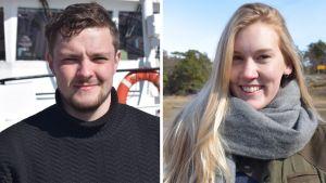 Kesätyöntekijät Konsta Laakso ja Anna gröning..
