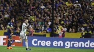 Copa Libertadoresin jalkapallo-ottelu Boca Juniorsin ja Palmeirasin välillä Buenos Airesissa huhtikuussa 2018.