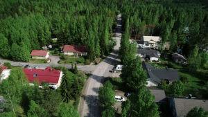 Lempäälän Kylmäkorventie ylhäältä katsottuna.