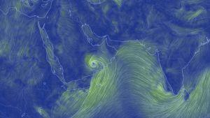 Havainnekuva Arabian niemimaan myrskytuulista.