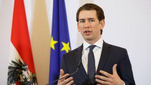 Mies tummassa puvussa, taustalla EU:n ja Itävallan liput.