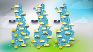 Torstain, perjantain ja lauantain sääkartat.