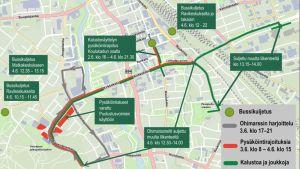 Puolustusvoimain lippujuhlan päivän paraatin liikennejärjestelyt Seinäjoella 4. kesäkuuta 2018
