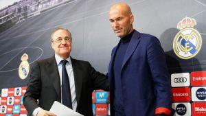 Real Madridin presidentti Florentino Perez (vas.) ja päävalmentaja Zinedine Zidane
