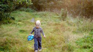 Pieni lapsi kävelee metsäaukiolla.