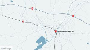 Salon alueen kartta.