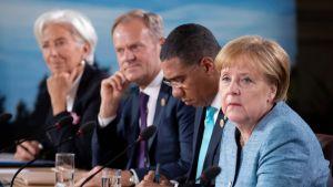 Angela Merkel G7-kokouksessa Kanadan La Malbaiessa.