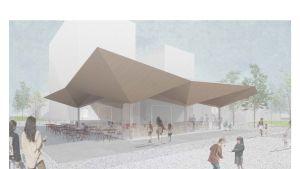 Havainnekuva Seinäjoen uudelle torille suunnitellusta kahvilapaviljongista.
