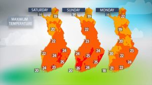 The mercury could surpass 25C in some southern and eastern parts of Finland.