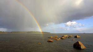 Sateenkaari järvimaisemassa.