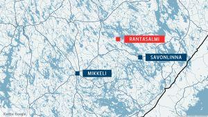 Kartta, jossa näkyvät Rantasalmi, Mikkeli ja Savonlinna.