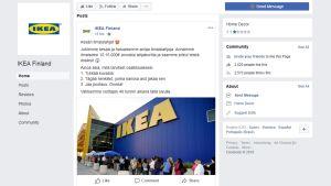 Kuvakaappaus Ikea Finland -Facebook-tililtä.