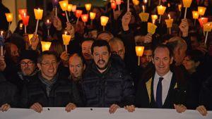Italian Pohjoisen liiton johtoa osallistui maahanmuuton vastaiseen mielenosoitukseen Venetsiassa.
