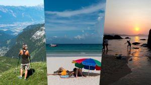 Alppimaisema Sveitsistä, uimaranta Hongkongissa ja laskevan auringon rantamaisema Kiinasta.