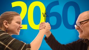 Grafiikka, 20-vuotias vastaan 60-vuotias