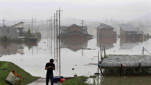 Yli 70 ihmistä on kuollut ja kymmeniä on kateissa Japanin kaatosateiden seurauksena. Kuva tulvivasta Kurashikin kaupungista, Okaymana prefektuurista läntisessä Japanissa.