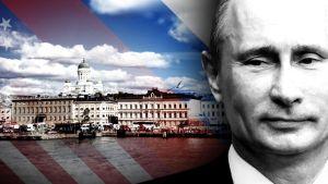 Helsinki, etualalal Vladimir Putinin kasvot