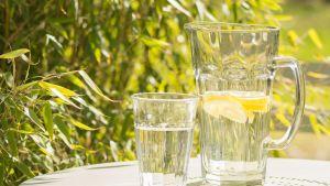 Sitruunavettä terassin pöydällä