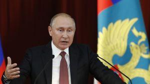 Venäjän presidentti Vladimir Putin suurlähettilästapaamisessa Moskovassa 19.07.2018.