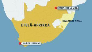 Etelä-Afrikan kartta.