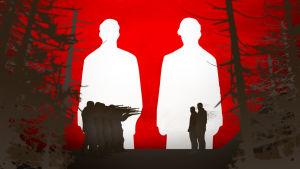 Punamustavalkea graafinen kuva, jossa teloitusryhmä valmiina. Teloitettavana kaksi ihmistä.